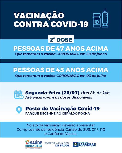 Semana começa com vacinação contra Covid em Barreiras