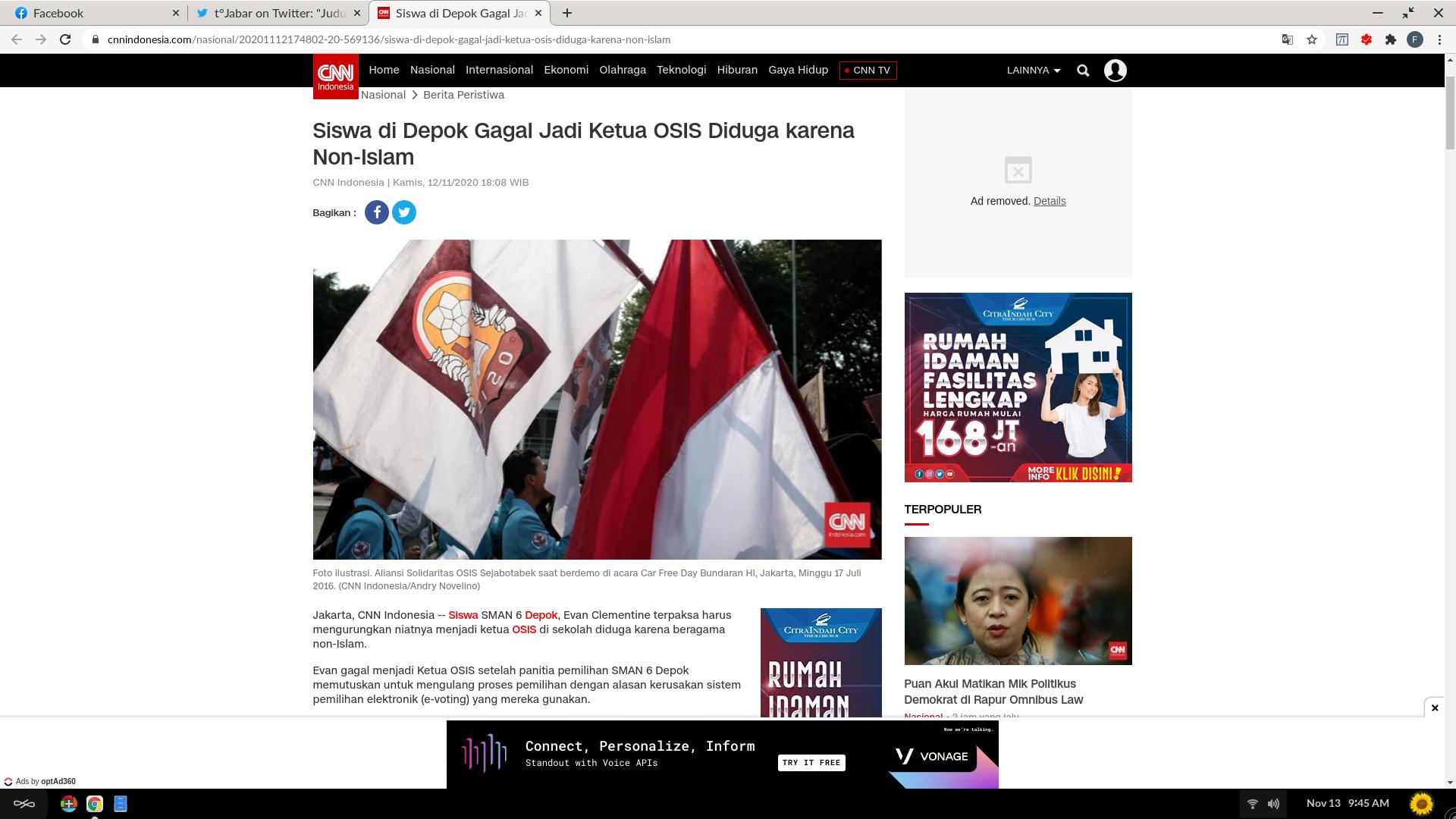 """CNN Dinilai Belah Bambu Gara-gara Judul """"Siswa di Depok Gagal Jadi Ketua OSIS Diduga karena Non-Islam"""""""