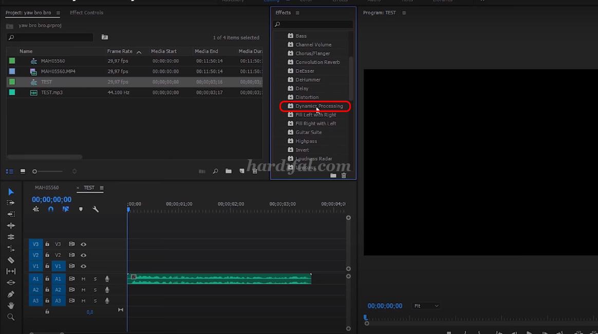 edit audio adobe premiere pro cc - dynamics processing