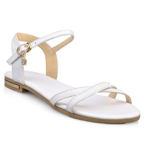White buckle strap sandals