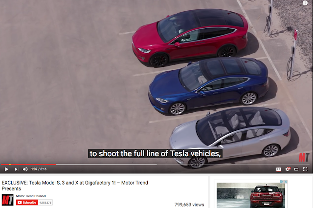 Video screen shot from Motortrend video of Tesla Model 3, S, X side by side, from above.