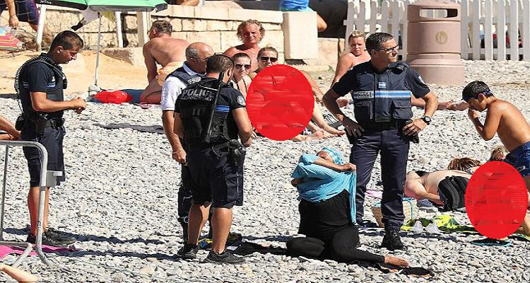 شاهدة عيان تكشف مفاجأة صادمة عن حادثة نزع الشرطة الفرنسية للباس إمرأة مسلمة في نيس