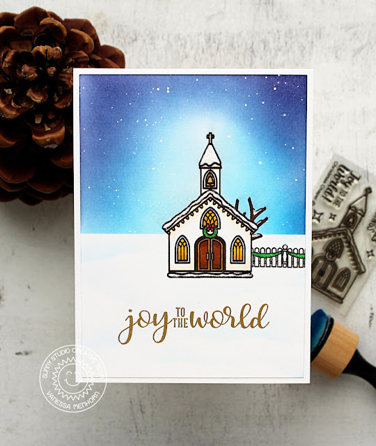 Sunny Studio Stamps: Christmas Chapel and Festive Greetings Night Sky Background Christmas Card by Vanessa Menhorn