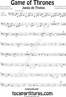 Partitura de Juego de Tronos para Violonchelo y Fagot by Game of Thrones Sheet Music for Cello and Bassoon by Ramin Djawadi Music Scores