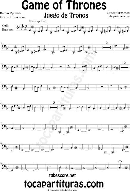 Partitura de Juego de Tronos para Violonchelo y Fagot by Game of Thrones Sheet Music for Cello and Bassoon by Ramin Djawadi Music Scores