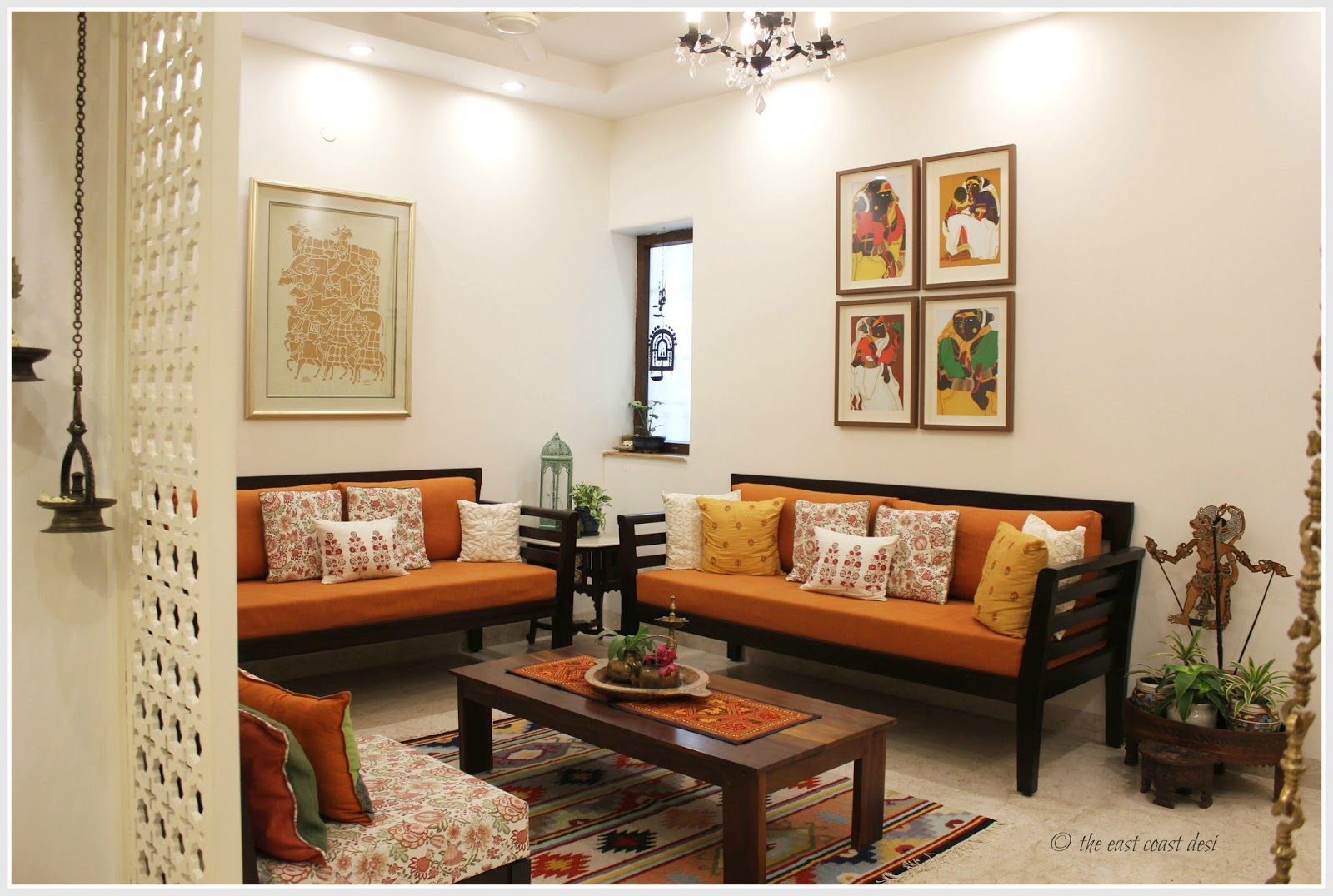The east coast desi keeping it elegantly eclectic home tour for Living room ideas indian style