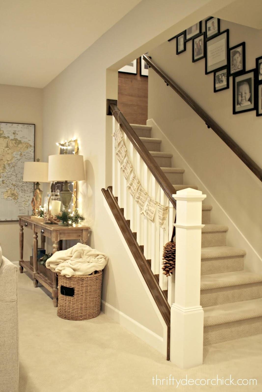 Wood railings and handrail basement steps
