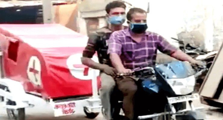 MP Engineer-Attaches Hospital Bed, Oxygen Cylinder To His Bike