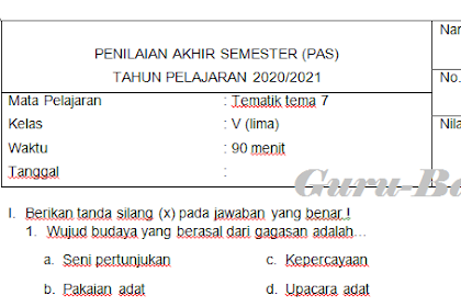 Latihan Soal PAS Kelas 5 Tema 7 Kurikulum 2013 Revisi 2020 Semester 2 Dilengkapi Kunci Jawaban
