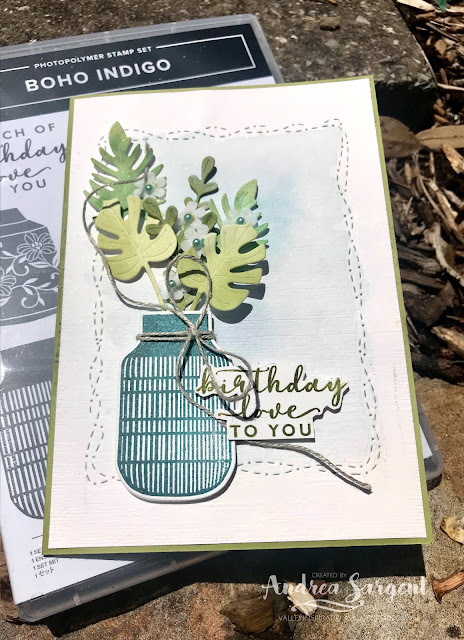Old Olive Stitched with Whimsy Boho Indigo Stampin Up card, Andrea Sargent, Independent Stampin' Up! Demonstrator, Valley Inspirations, Adelaide foothills, Australia
