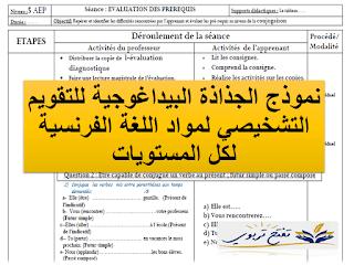 نموذج الجذاذة البيداغوجية للتقويم التشخيصي لمواد اللغة الفرنسية لكل المستويات