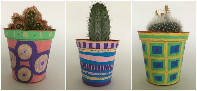 Plant pots decorated with Posca pens