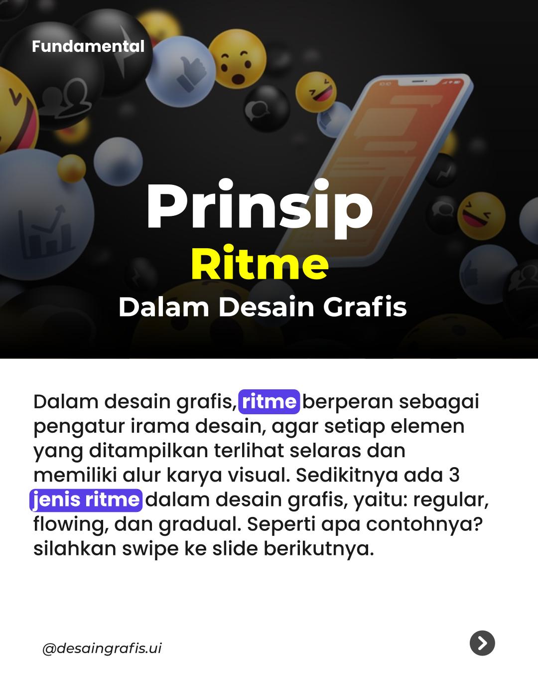 ritme adalah pembuatan atau cipta desain, dengan menerapkan prinsip yang menyatukan irama