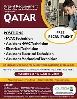 Maintenance Company Free Recruitment Qatar