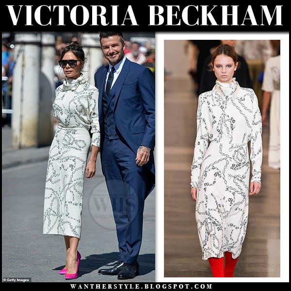 Victoria Beckham in white chain print midi dress and pink pumps. spring summer wedding guest style