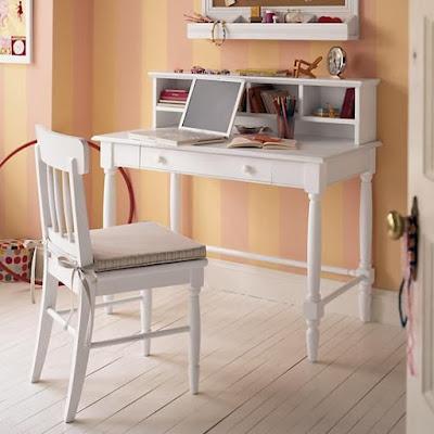 meja belajar minimalis putih