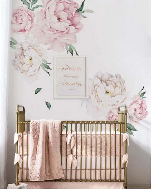 baby girl nursery floral wallpaper