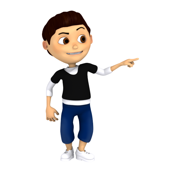 Cartoon Young Boy Pointing Out