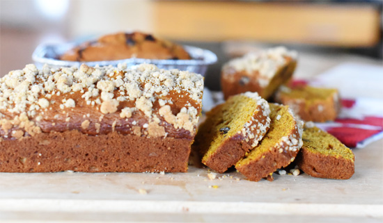 Pumpkin Bread with Streusel Topping, Chai spices