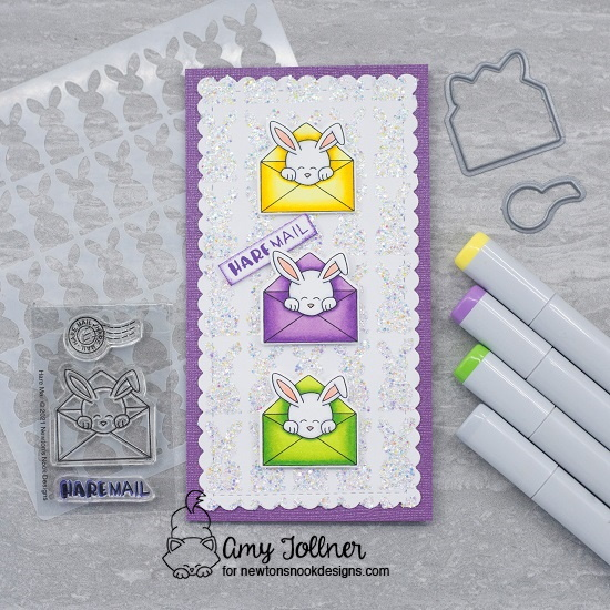 Hare mail by Amy features Slimline Frames & Portholes, Bunny Tails, and Hare Mail by Newton's Nook Designs; #newtonsnook, #inkypaws, #eastercards, #cardmaking