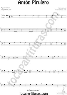 Violonchelo y Fagot Partitura de Antón Pirulero Sheet Music for Cello and Bassoon Music Scores