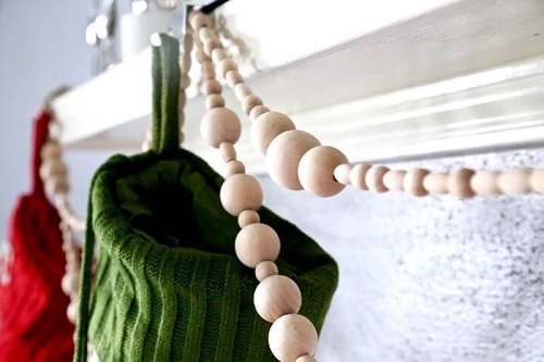 diy wood bead christmas garland