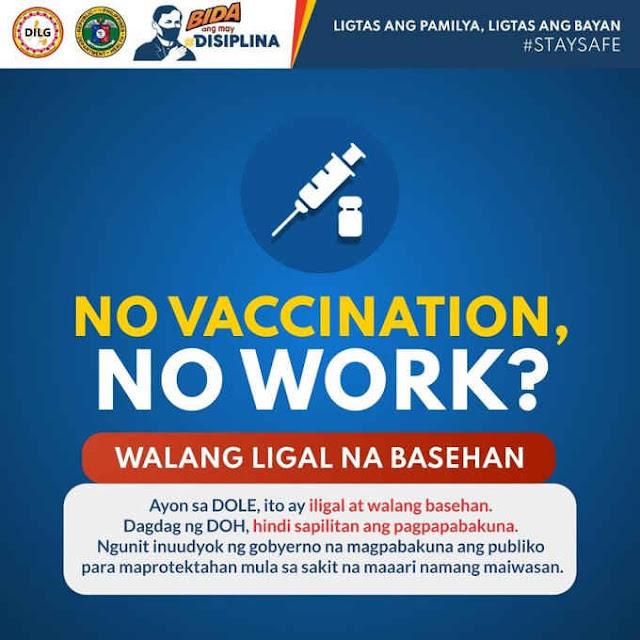 no vaccination, no work