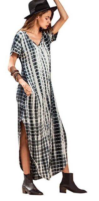 tie dye bohemian summer dress with pockets