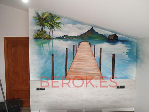 mural playa dormitorio