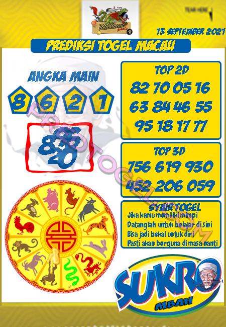Pred Mbah Sukro Macau Senin 13 September 2021