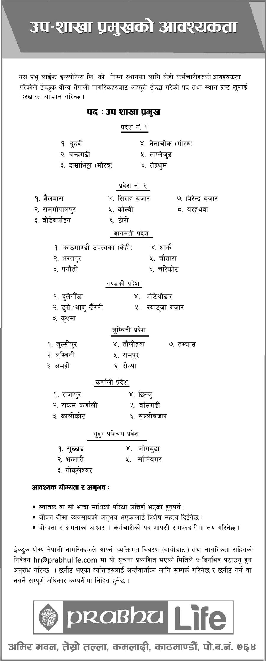 Prabhu-LIfe-Insurance-Job-Vacancy-for-Sub-Brach-Head-in-7-Provinces