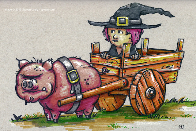 The Witch and The Pig Illustration