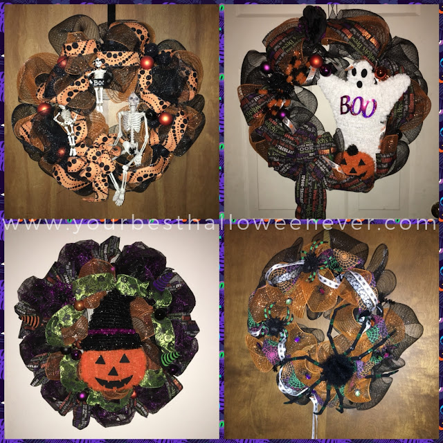 collage of decorative Halloween mesh ribbon wreaths with skeletons ghosts pumpkins and spiders created by Kathleen Noles
