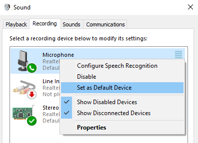 Set Microphone as default device
