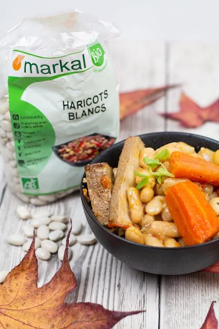 bol de haricots blancs, paquet de haricots secs Markal