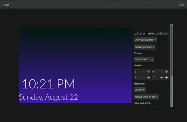 Date and time settings layout Komorebi