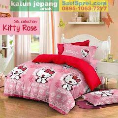 Sprei Katun Jepang Anak Kitty Rose Red