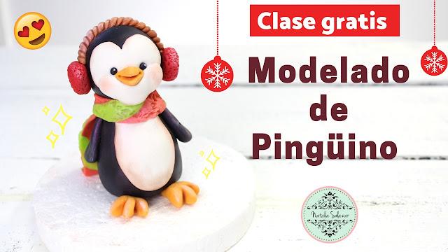 como modelar un pinguino navideño