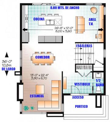 Plano de Casa en Terreno de 8 x 10 metros-Planta-Baja