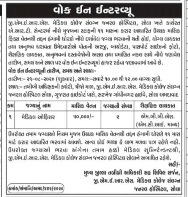 GMERS Medical Officer Recruitment 2020