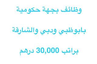 وظائف بجهة حكومية بابوظبي ودبي والشارقة براتب 30,000 درهم