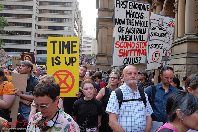Sydney Climate Rally - 'Time Up' sign. Town Hall