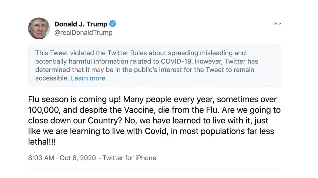 Trump: 'Coronavirus meno letale dell'influenza' | Facebook e Twitter intervengono