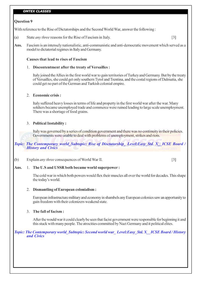 X_ICSE Board_Official_History & Civics (Paper-1)__Solutions_[01.03.2019]