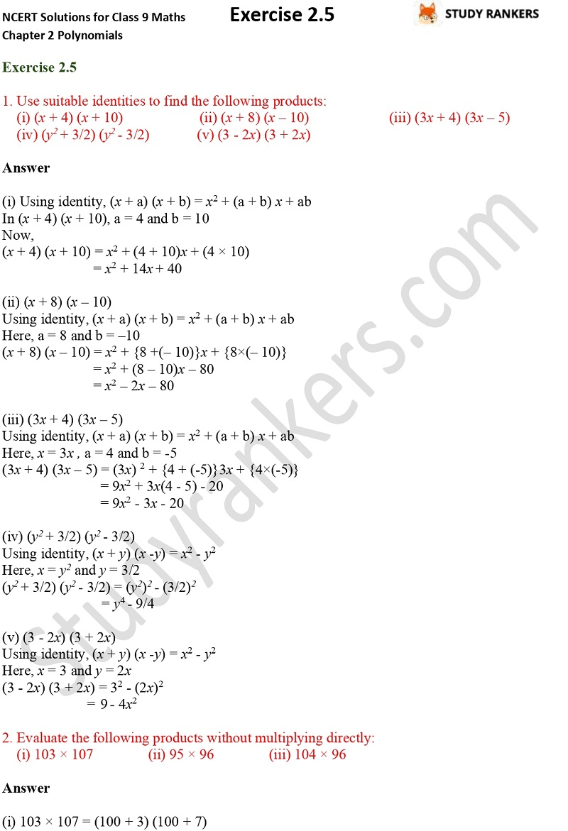 NCERT Solutions for Class 9 Maths Chapter 2 Polynomials Exercise 2.5 Part 1