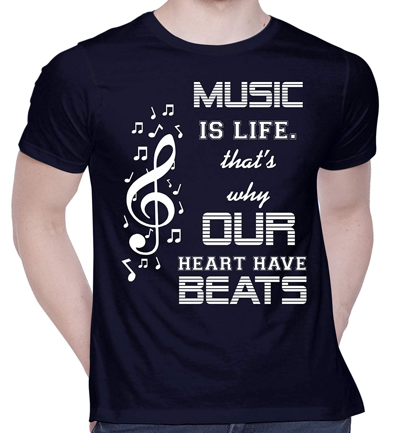 Music is Life that's why Our Heart have Beats Printed T-Shirt