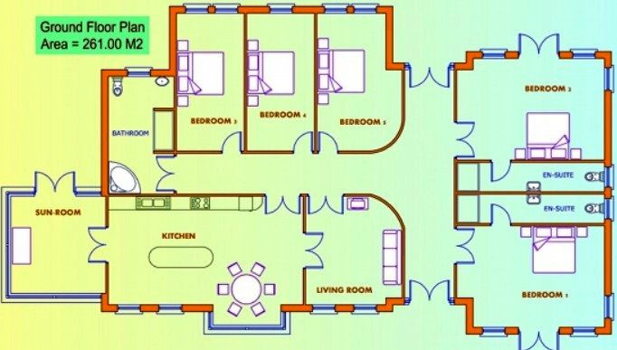 Contoh Denah Rumah 1 Lantai 5 Kamar Tidur Minimalis