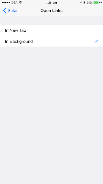 How to open new links in background on Safari browser on an iPhone running iOS 8
