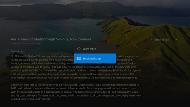 L'application vous permet également de découvrir les images Microsoft Bing du jour et les résultats de recherche d'images, et les définir facilement comme arrière-plan de votre console.