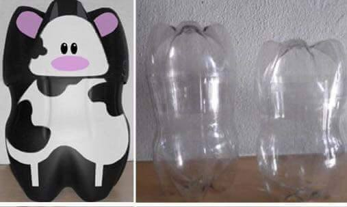 Idea to make something from bottle for kids : cow